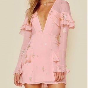 For Love and Lemons Gilded Star Mini Dress size M